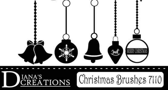 圣诞节彩球、铃铛、挂坠PS笔刷装饰品