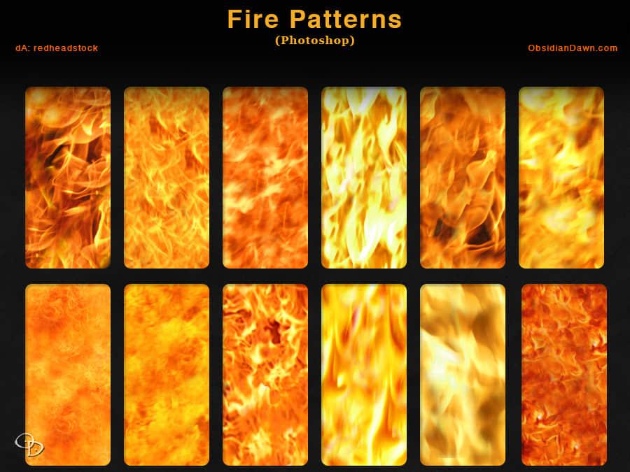 12种火焰纹理效果Photoshop填充素材下载