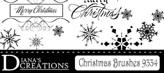 矢量圣诞节雪花装饰品PS笔刷下载