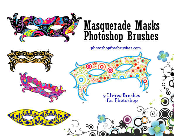 七彩时尚面罩、面具、眼罩Photoshop装扮笔刷