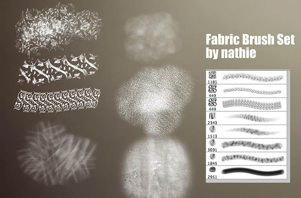 2个编织物纹理、棉布印花图案Photoshop笔刷打包下载 编织物笔刷 棉布笔刷 布匹笔刷 印染笔刷  background brushes