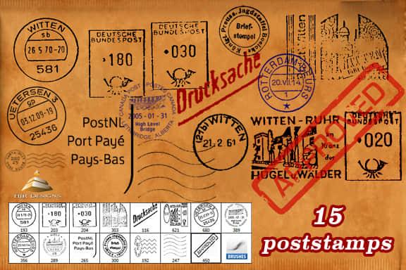 世界各地邮戳图案PS笔刷 邮戳笔刷  symbols brushes