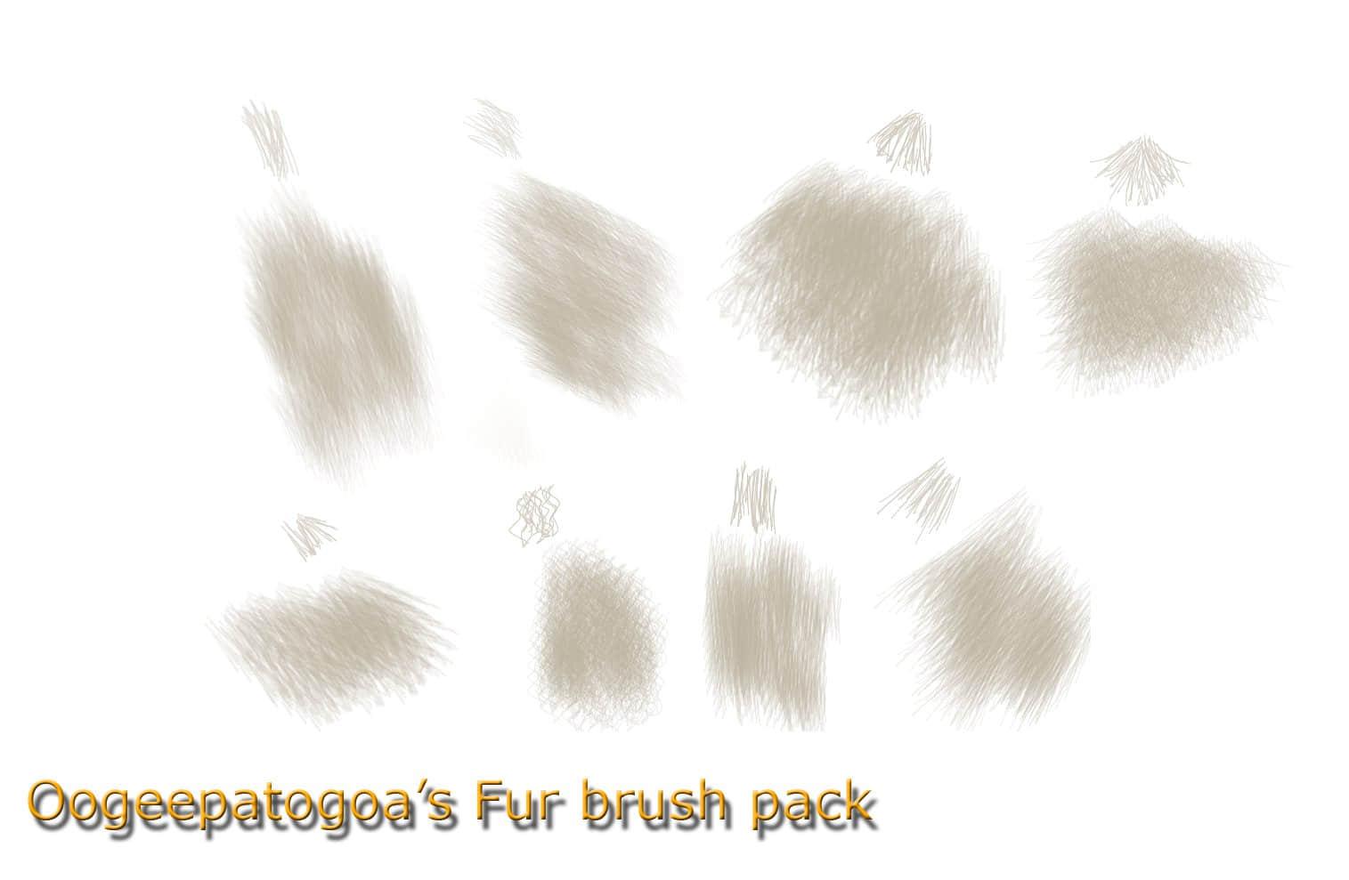 8种不同卷曲、不同细密度得毛发、绒毛Photoshop笔刷下载