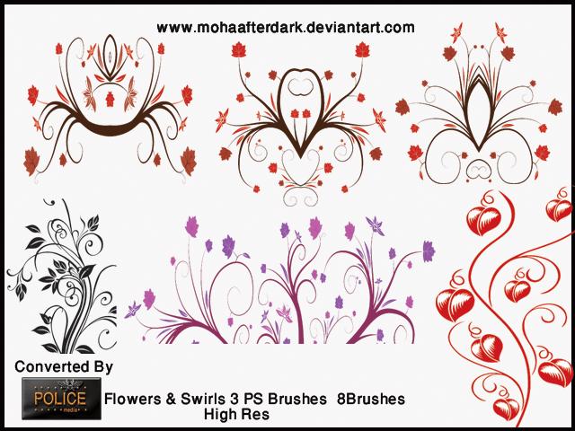 优雅的植物艺术花纹PS装饰笔刷 植物花纹笔刷  flowers brushes