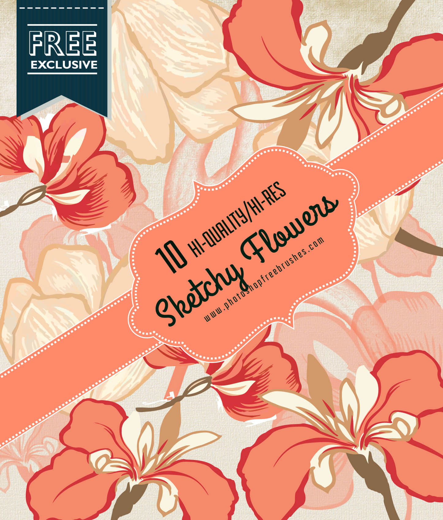 手绘鲜花图案、花卉图像Photoshop笔刷素材 花卉笔刷s 手绘鲜花笔刷  flowers brushes