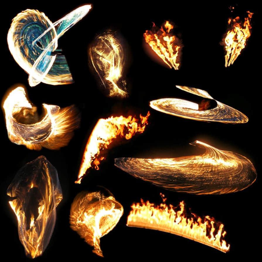 10种真实的火焰燃烧喷射、火圈效果PS笔刷下载(已扣PNG图片)