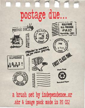 国外信件邮戳图案Photoshop笔刷素材 邮戳笔刷  symbols brushes