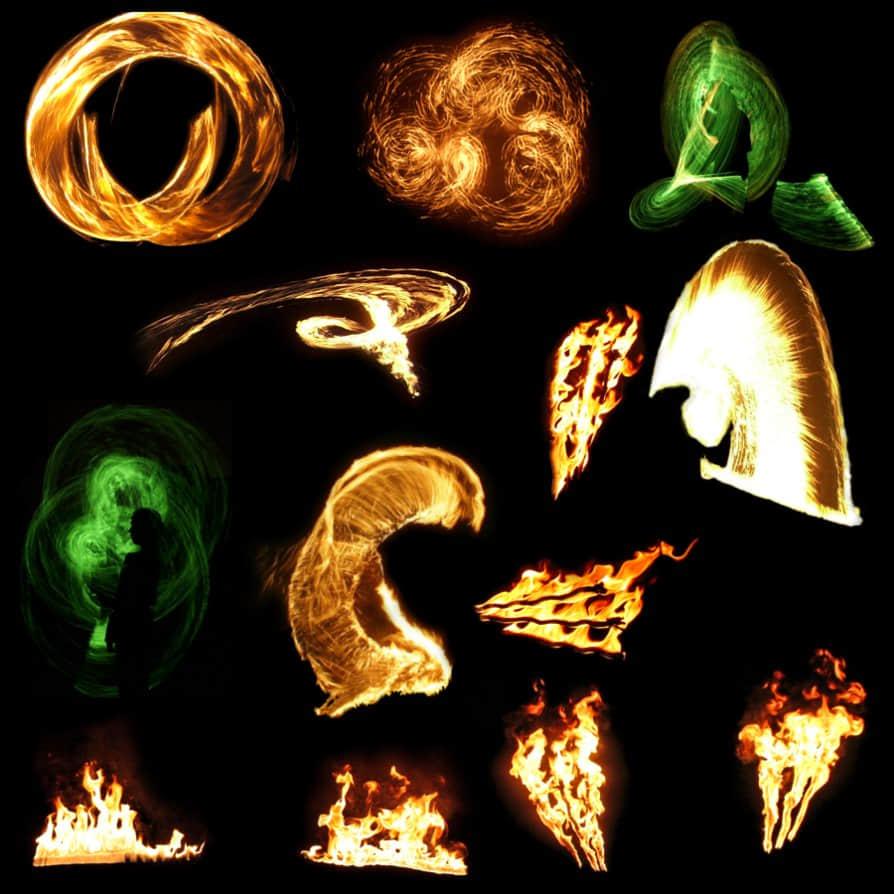 10种火光、火焰喷射燃烧效果Photoshop笔刷下载(已扣PNG图片)