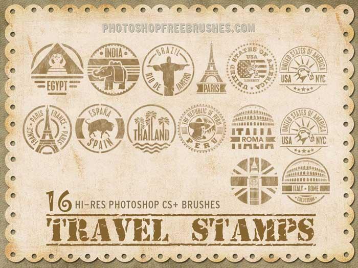 16种邮戳、世界旅游徽章Photoshop笔刷下载 邮戳笔刷 徽章笔刷  other brushes