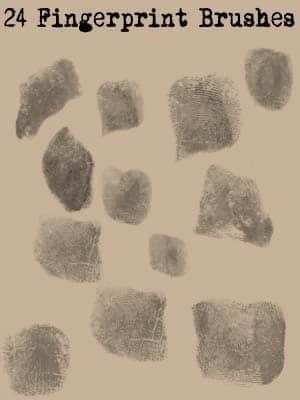 24种真实的指纹纹理PS笔刷素材