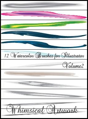12钟艺术水彩Photoshop笔刷素材下载 水彩笔刷  photoshop brush