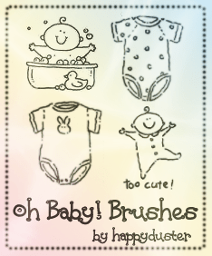 可爱卡通婴儿宝宝元素Photoshop笔刷