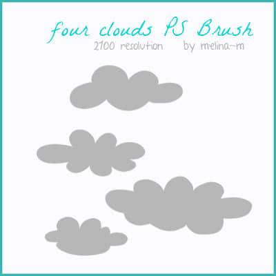 简单的卡通云朵Photoshop笔刷下载