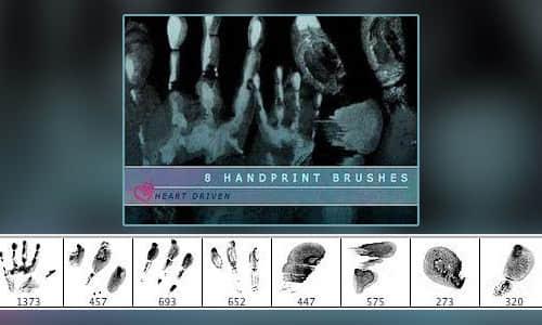 手掌印、指纹、掌纹Photoshop笔刷素材下载 掌纹笔刷 掌印笔刷 指纹笔刷  characters brushes