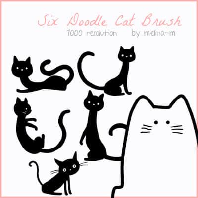 可爱呆萌的卡通猫咪Photoshop照片美化笔刷