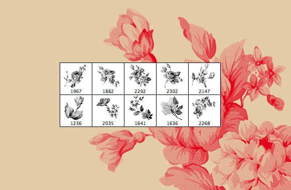 复古式刺绣、水墨状花纹、鲜花图案Photoshop笔刷