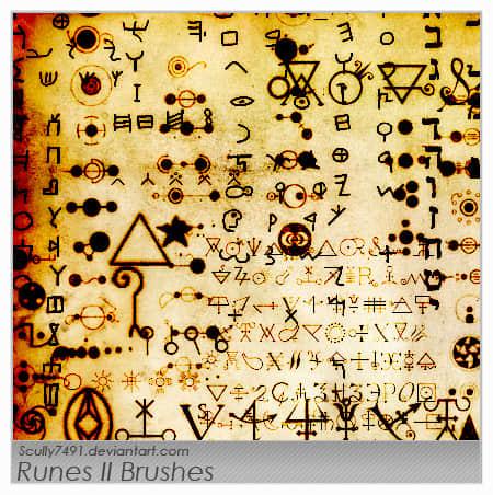 神魔符文、神秘符号Photoshop笔刷下载 符文笔刷 神秘符号笔刷  symbols brushes