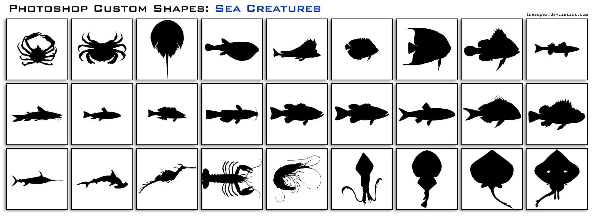 海鲜螃蟹、河豚、小丑鱼、龙虾、鲨鱼、河马、乌贼、水母等Photoshop剪影自定义形状素材