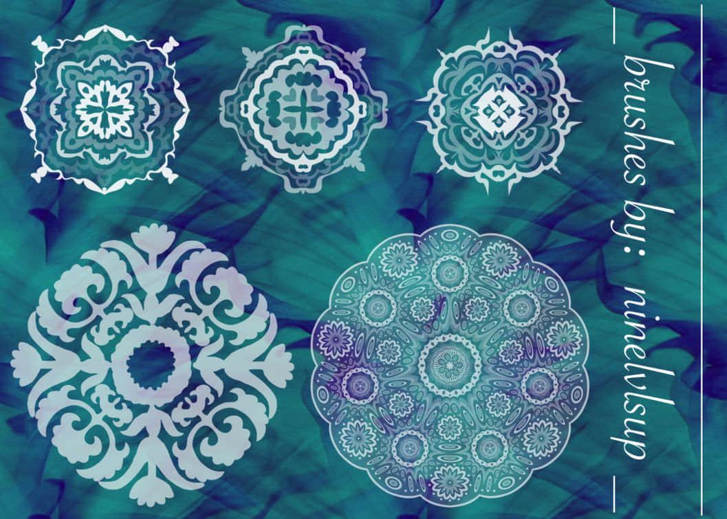 漂亮的古典民族花纹图案PS笔刷素材 民族花纹笔刷 古典花纹笔刷 印花笔刷  flowers brushes
