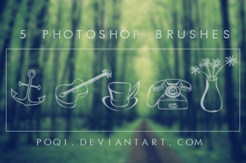 小清新涂鸦电话、花瓶、咖啡杯、船锚、吉他PS笔刷下载