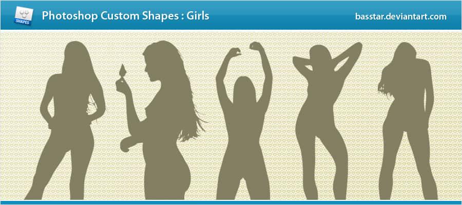 成人女性剪影photoshop自定义形状素材 .csh 下载