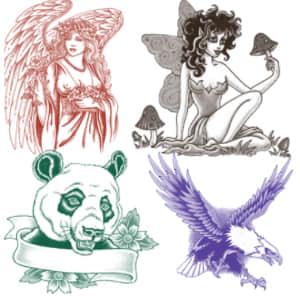 天使、精灵、熊猫、老鹰PS纹身刺青图案笔刷下载 老鹰笔刷 纹身笔刷 精灵笔刷 熊猫笔刷 天使笔刷  adornment brushes