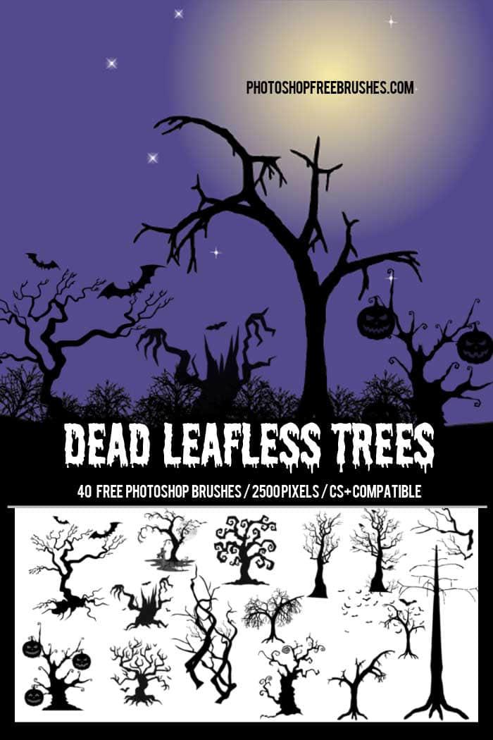 万圣节装饰卡通树木、万圣节树PS笔刷下载