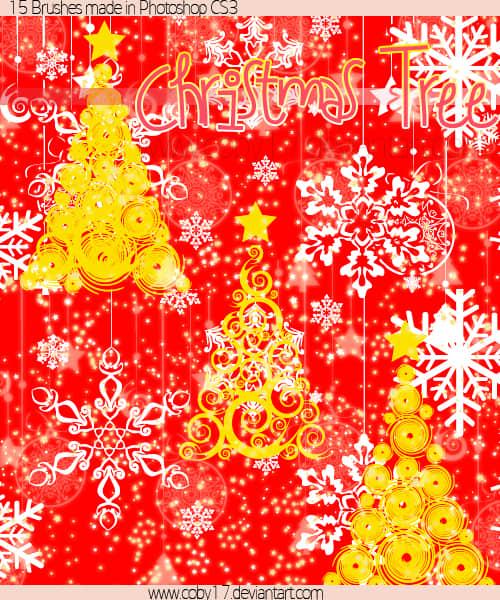 富丽堂皇的圣诞节花纹装饰PS笔刷下载 雪花笔刷 圣诞节笔刷 圣诞树笔刷  adornment brushes