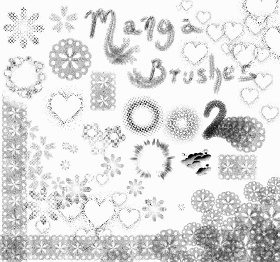 剪纸花朵、爱心装饰PS笔刷下载