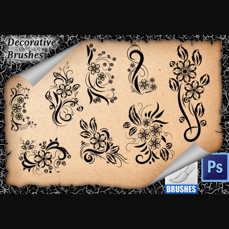 漂亮的艺术鲜花花纹图案Photoshop笔刷免费下载 鲜花图案笔刷 艺术花纹笔刷 植物花纹笔刷 印花笔刷  flowers brushes