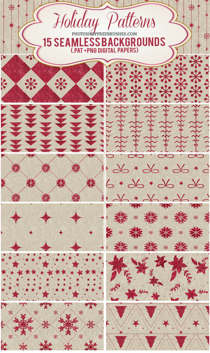 15种亮粉式圣诞节花纹图案Photoshop背景填充素材下载