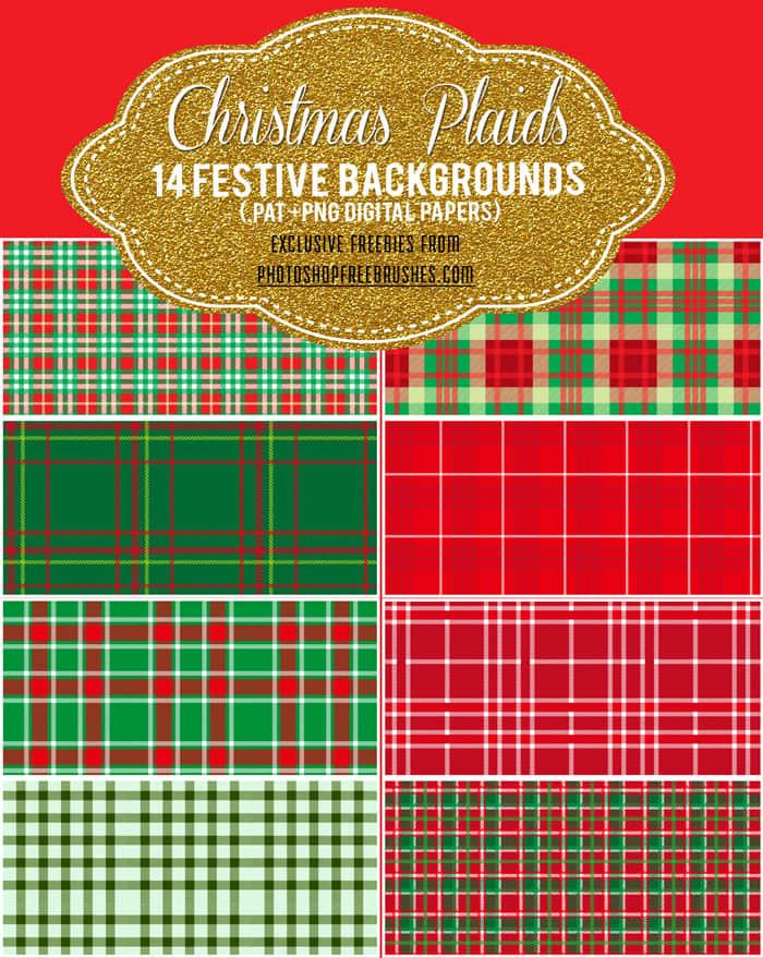 圣诞节格子布背景图案Photoshop喜庆填充素材