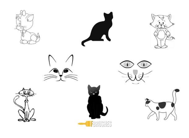 可爱的卡通猫咪、猫脸Photoshop笔刷下载