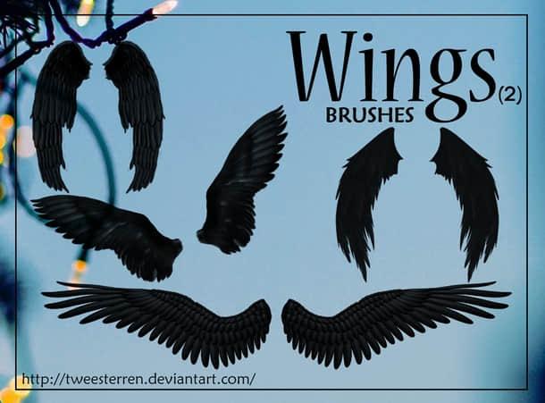 黑翼天使、堕落天使翅膀Photoshop笔刷下载 堕落天使笔刷  wings brushes