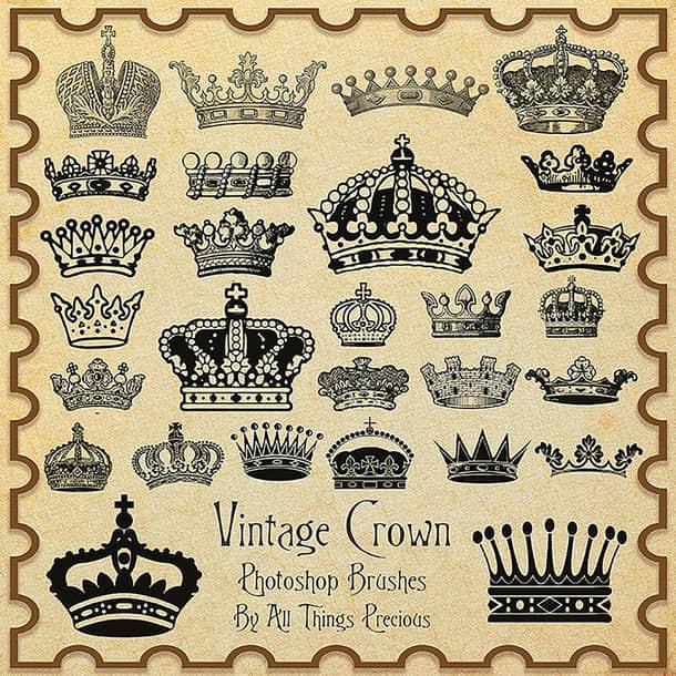 各式各样古老的皇冠、王冠Photoshop笔刷下载 皇冠笔刷 王冠笔刷  %e5%8d%a1%e9%80%9a%e7%ac%94%e5%88%b7