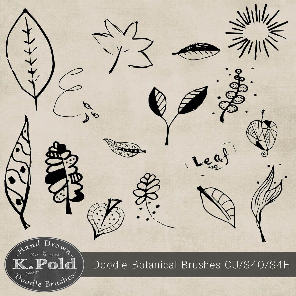 可爱的童趣涂鸦树叶Photoshop叶子笔刷