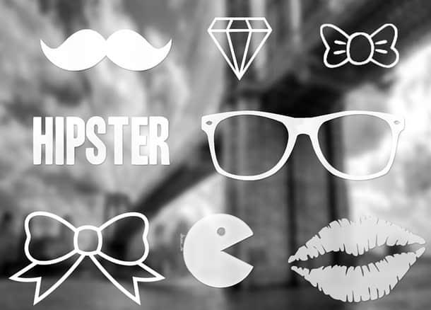 眼睛、口红印、蝴蝶结、胡子、钻石Photoshop美图笔刷