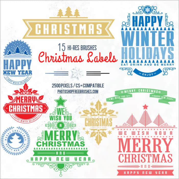 15种不同的圣诞节徽章图案标志PS笔刷下载 万圣节笔刷  adornment brushes