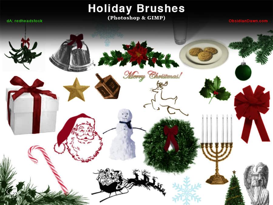 圣诞节元素节日装扮Photoshop饰品笔刷 节日笔刷 圣诞节笔刷  adornment brushes