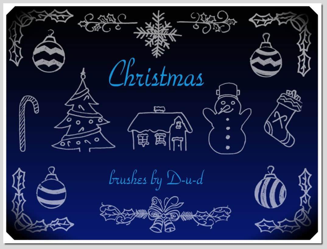 圣诞节童趣手绘涂鸦Photoshop笔刷下载