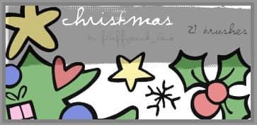 卡通圣诞节元素Photoshop笔刷素材