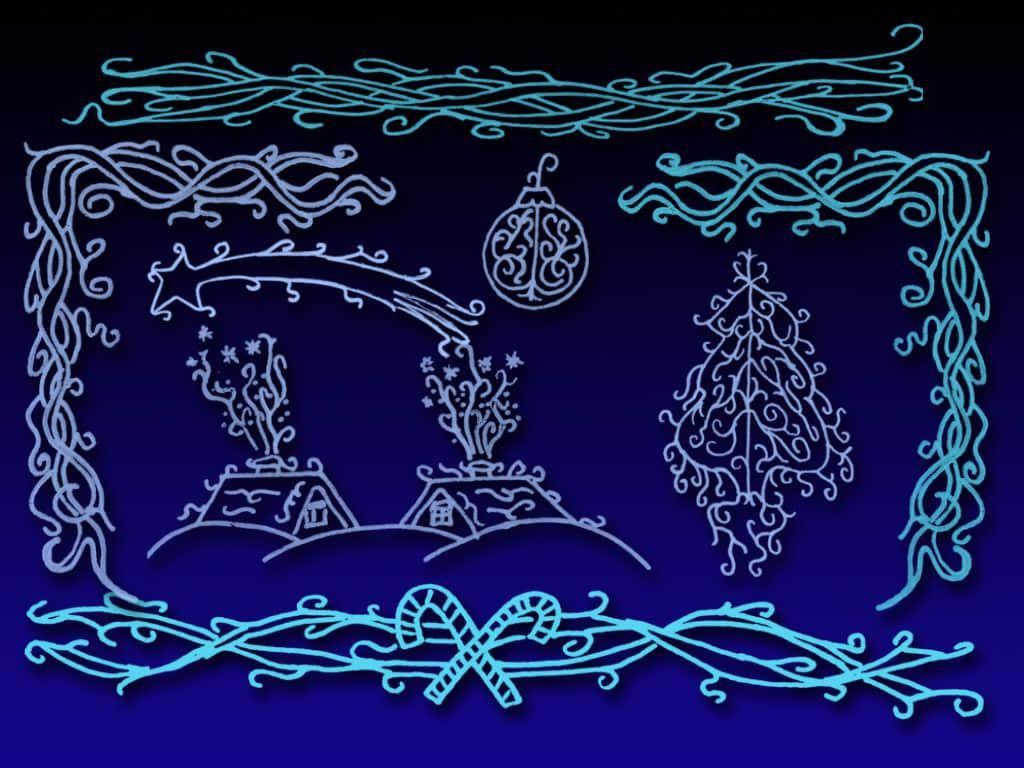 西欧圣诞节花纹图案Photoshop装饰笔刷 西欧民族花纹笔刷 圣诞节笔刷 圣诞节图案笔刷 圣诞节元素笔刷  adornment brushes flowers brushes