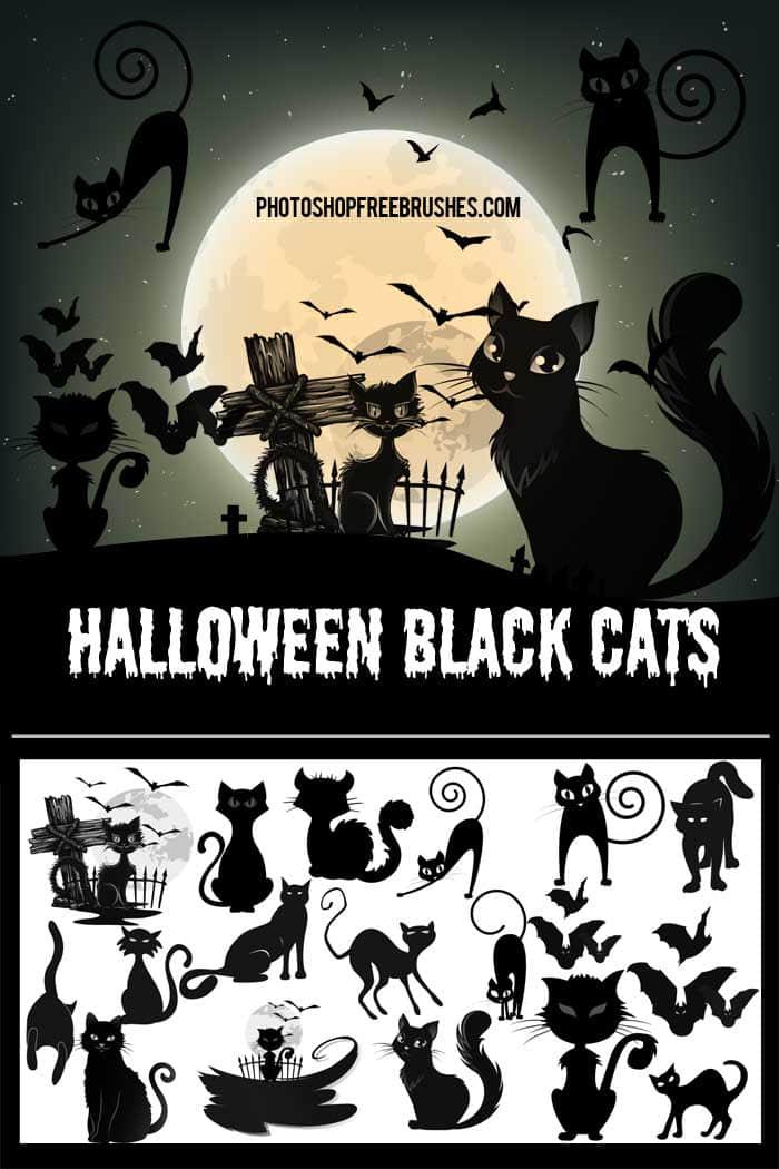 15种万圣节卡通黑猫PS笔刷下载 黑猫笔刷 猫笔刷 卡通猫笔刷 万圣节笔刷  %e5%8d%a1%e9%80%9a%e7%ac%94%e5%88%b7