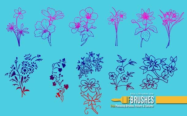 漂亮的植物鲜花图案、印花纹饰Photoshop笔刷素材 鲜花图案笔刷 植物花纹笔刷 印花笔刷  flowers brushes