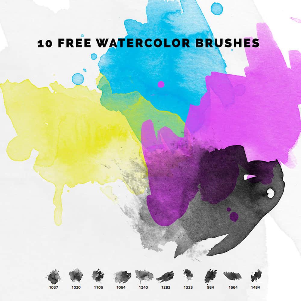10个免费的水彩涂抹效果Photoshop笔刷下载 水彩笔刷  photoshop brush