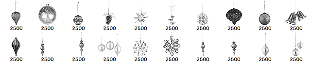 圣诞节彩球、彩灯、铃铛节日装饰品Photoshop笔刷素材下载