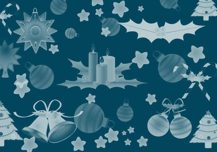 圣诞节卡通装饰品Photoshop笔刷素材下载