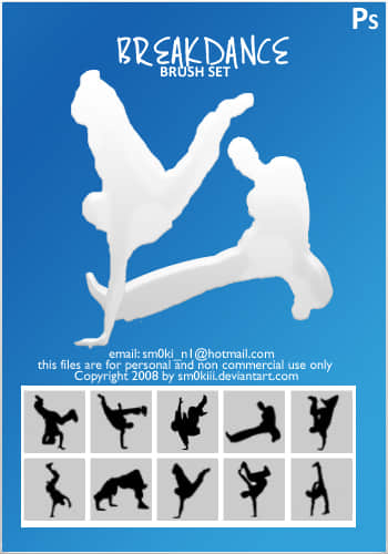 霹雳舞姿剪影Photoshop笔刷下载 舞蹈笔刷 剪影笔刷  characters brushes