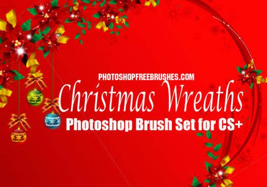 圣诞节装饰花环、花圈Photoshop笔刷下载 花环笔刷 花圈笔刷 圣诞节笔刷  adornment brushes