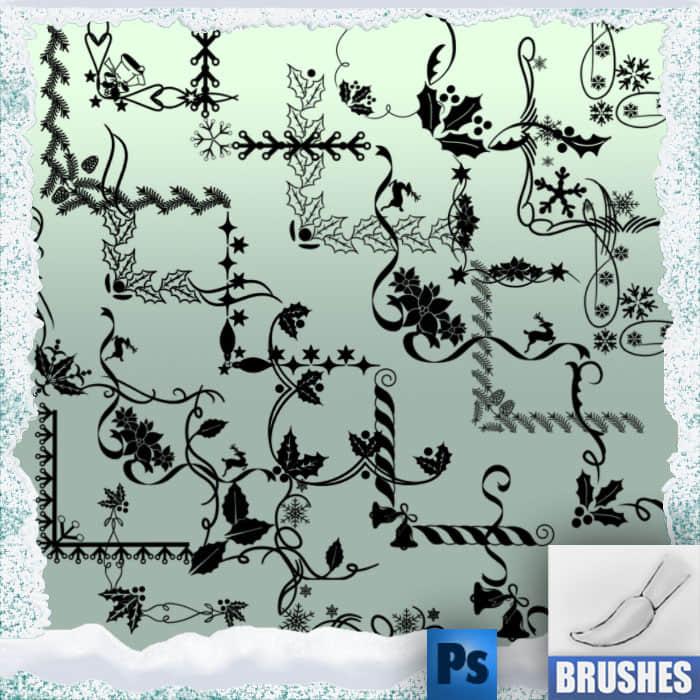 圣诞节植物花纹边角Photoshop边框笔刷